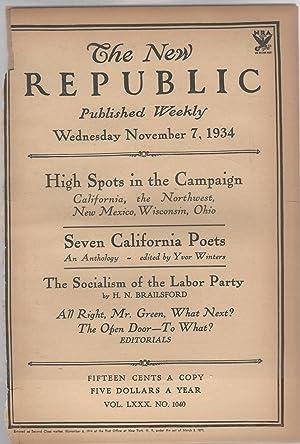 The New Republic, Volume LXXX (80): No. 1040: November 7, 1934: Blevin, Bruce (editor)