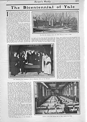 """PRINT: """"The Bicentennial of Yale (University)"""".story & photos from Harper's Weekly,..."""