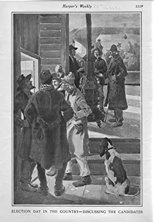 """ENGRAVING: """"Election Day in the Country--Discussing the Candidates"""".engraving from Harper..."""