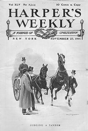 "ENGRAVING: ""Judging a Tandem"" .engraving from Harper's Weekly, November 23, 1901: ..."