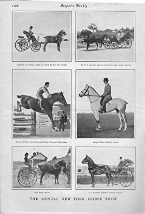 """PRINT: """"The Annual New York Horse Show"""" .photos from Harper's Weekly, November 23, 1901..."""
