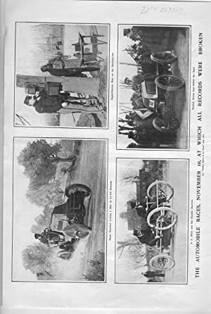 """PRINT: """"The Automobile Races, November 6, at Which All Records Were Broken"""".photos from ..."""