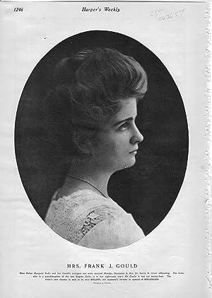 "ENGRAVING: ""Mrs. Frank J. Gould"".photoengraving from Harper's Weekly, December 14, 1901..."