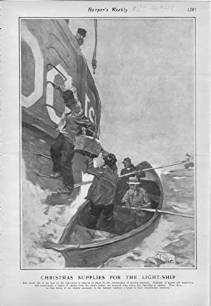 """ENGRAVING: """"Christmas Supplies for the Light-Ship"""".engraving from Harper's Weekly, ..."""