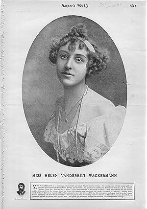 """PRINT: """"Miss Helen Vanderbilt Waskermann"""".photoemgraving from Harper's Weekly, ..."""