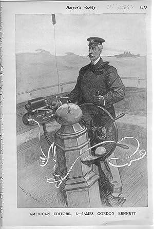 "ENGRAVING: ""American Editors; 1. James Gordon Bennett "".engraving from Harper's Weekly,..."