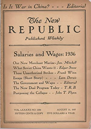 The New Republic, Volume LXXXii, No. 1184: August 11, 1937: Blevin, Bruce (editor)