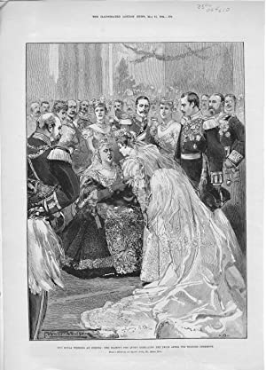"""ENGRAVING: """"The Royal Wedding At Coburg: Her Majesty (Victoria I) Embracing the Bride after ..."""