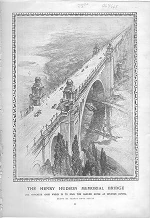 """ENGRAVING: """"The Henry Hudson Memorial Bridge"""".engravings from Harper's Weekly, January ..."""