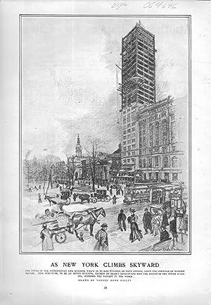 "ENGRAVING: ""As New York Climbs Skyward"".engraving Harper's Weekly, February 15, 1908: ..."