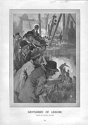 """ENGRAVING: """"Gentlemen of Leisure"""".engraving from Harper's Weekly, February 22, 1908:..."""