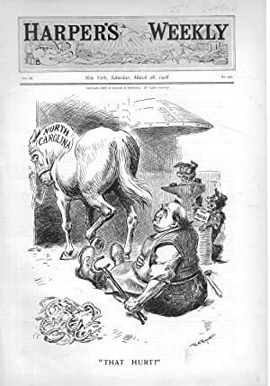 """ENGRAVING: """"That Hurt!"""".engraving from Harper's Weekly, March 28, 1908: Bryan, William ..."""