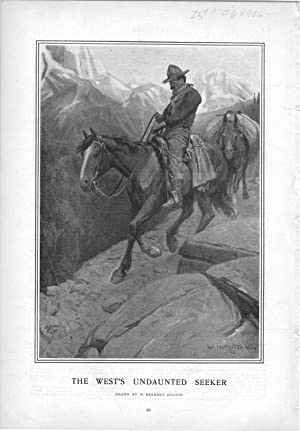 "ENGRAVING: ""The West's Undaunted Seeker"".engravingy from Harper's Weekly, April 11,..."