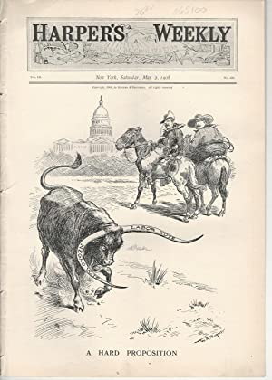 """ENGRAVING: """"A Hard Propositioin"""".engraving from Harper's Weekly, May 2, 1908: ..."""