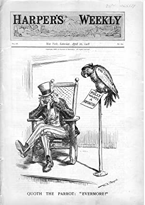 "ENGRAVING: ""Quoth the Parrot: Evermore"".engraving from Harper's Weekly, April 25, ..."