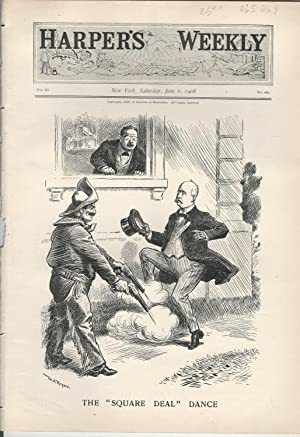 """ENGRAVING: """"The 'Square Deal' Dance"""".Political cartoon engraving from Harper&#..."""