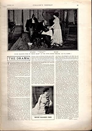 """Print: """"The Drama: Minnie Maddern Fiske in 'Becky Sharp'"""".photos from Collier's..."""