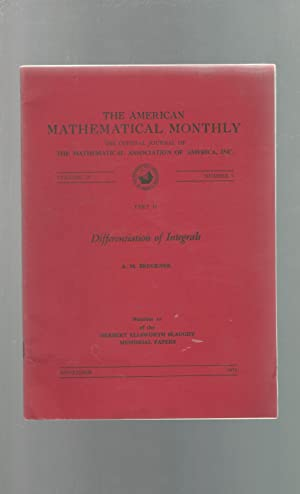 Differentiaion of Integrals: American Mathematical Monthly, Vol. 78, No. 9; November 1971 (...