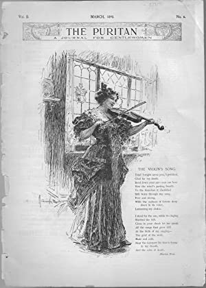 """PRINT: """"The Violin's Song""""; Poem and Engraving from The Puritan: A Journal for ..."""