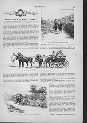 """ENGRAVING: """"Women Four in Hand Drivers"""". Story & engravings from from The Puritan: A ..."""