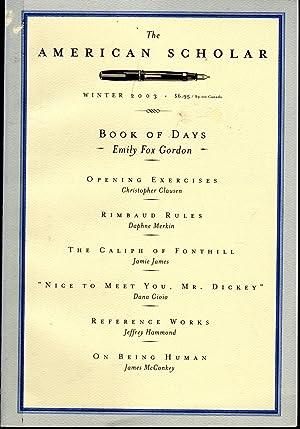 The American Scholar: Volume 72, N0. 1;: Fadiman, Anne (Editor)
