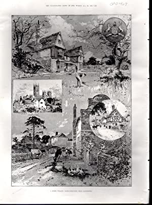 "ENGRAVING: ""A Model Village: Patricksbourne, Near Canterbury"" .engravings from The ..."
