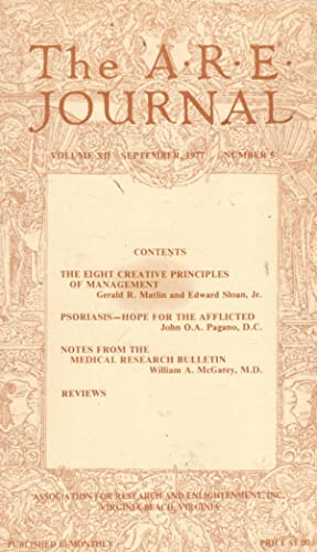 The A.R.E. Journal; Volume VII, No.5: September,: Association for Research