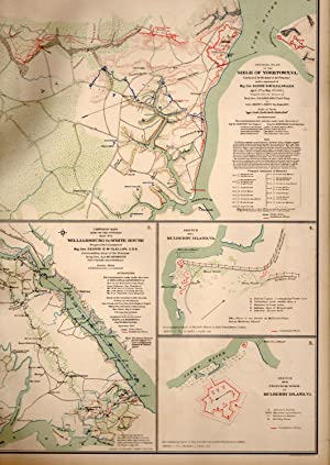 MAP: 5 Section Maps including White House to Harrison's Landing, Virginia; Seigne of Yorkstown,...