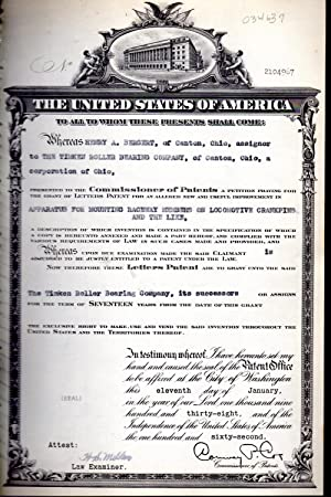 Patent#2104967, Granted To Henry A. Bergent of: United States Patent