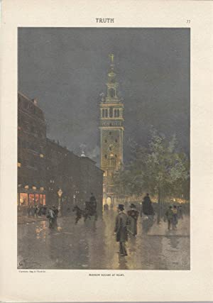 """Lithograph: """"Madison Square at Night"""". color lithograph: Graham, Charles) Truth"""