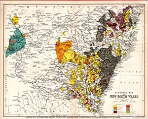 MAP: 'Minerals Map of New South Wales'.from the Australian Handbook, 1906: Wilkinson, C.S...
