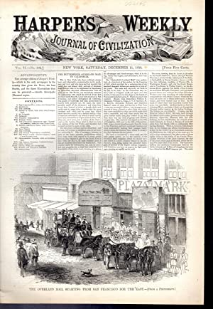 "ENGRAVING: ""The Overland Mail Starting From San Francisco to the East"" .engraving & ..."