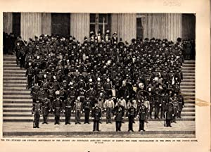 """ENGRAVING: ''250th Anniversary of.Artillery Co. of Boston"""". engraving from Frank ..."""