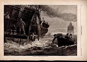 ENGRAVING: 'Throwing out Papers for the Light-House' .engraving in Harper's Weekly, ...