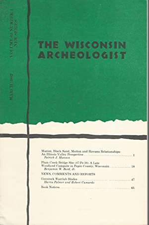 TheWisconsin Archaelologist: Volume 63, No. 1: March, 1982: The Wisconsin Archeological Society