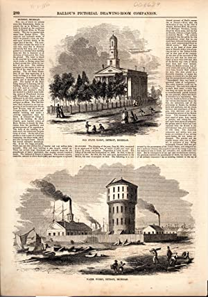 PRINT: 'Detroit, Michigan'.article & engravings from Ballou's Pictorial, ...