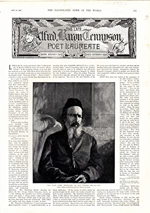 PRINT:'The Lord Alfred, Baron Tennyson: Poet Laureate'.text & engravings from The ...