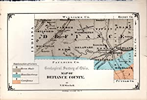 MAP: 'Geological Map of Defiance County'.from Geological Survey of Ohio, 1874: Winchell, ...