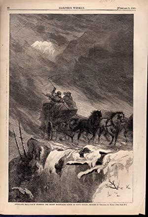 ENGRAVING:'Overland Mail-Coach Crossing the Rocky Mountains' .engraving from Harper'...