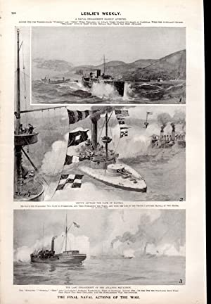 """ENGRAVING: """"The Final Naval Actions of the War"""".engravings from Frank Leslie's Weekly, ..."""