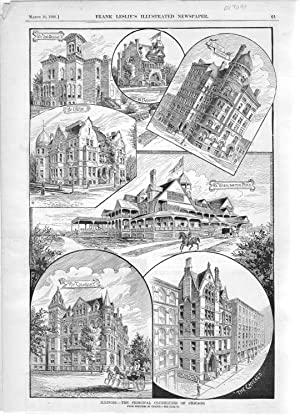 """ENGRAVING: """"Illinois--The Principal Clubhouses of Chicago"""" .Frank Leslie's ..."""