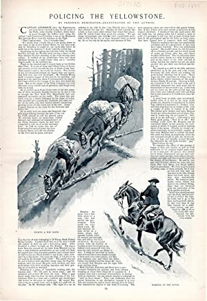 PRINT: 'Policing the Yellowstone'.text and engravings from Harper's Weekly, January 12,...