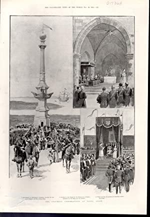 ENGRAVING:'The Columbus Celebrations at Palos, Spain' .from The Illustrated News of the ...