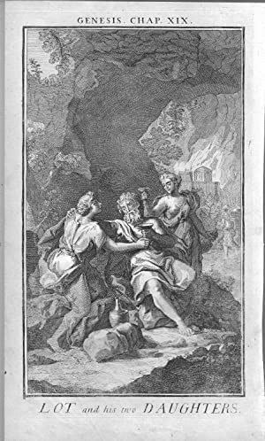"ENGRAVING: ""Lot and His Daughters "".full page engraving from History of the Old & New..."