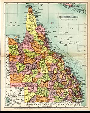 MAP: 'Queensland'.from the Australian Handbook, 1906: John Bartholomew & Co
