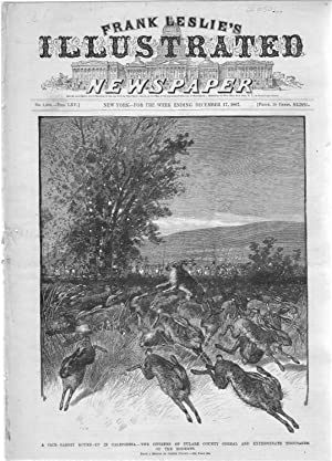 """ENGRAVING: """"A Jack-Rabbit Round-Up in California"""". engraving from Leslie's ..."""