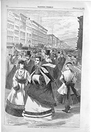"ENGRAVING: ""Broadway, February, 1868"" .engraving from Harper's: Jewett, W.S.L) Harper's"