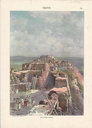 """Colored Lithograph; """"Moki Pueblo, Arizona"""". color lithograph from Truth Magazine, June, ..."""