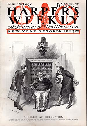 """ENGRAVING: """"Shocked at Corruption"""".engraving from Harper's Weekly, October 20, 1900: ..."""