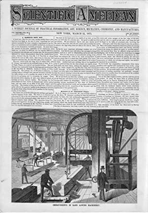 ENGRAVING: 'Improvements in Band Saw Machinery'.from Scientific American, March 22, 1873: ...